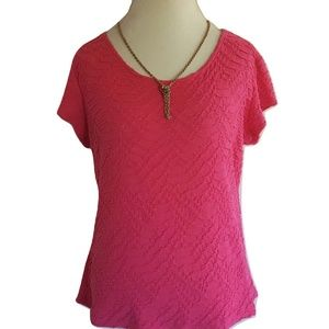 Liz Claiborne Career Stretch Top Scoop S/S Pink XL